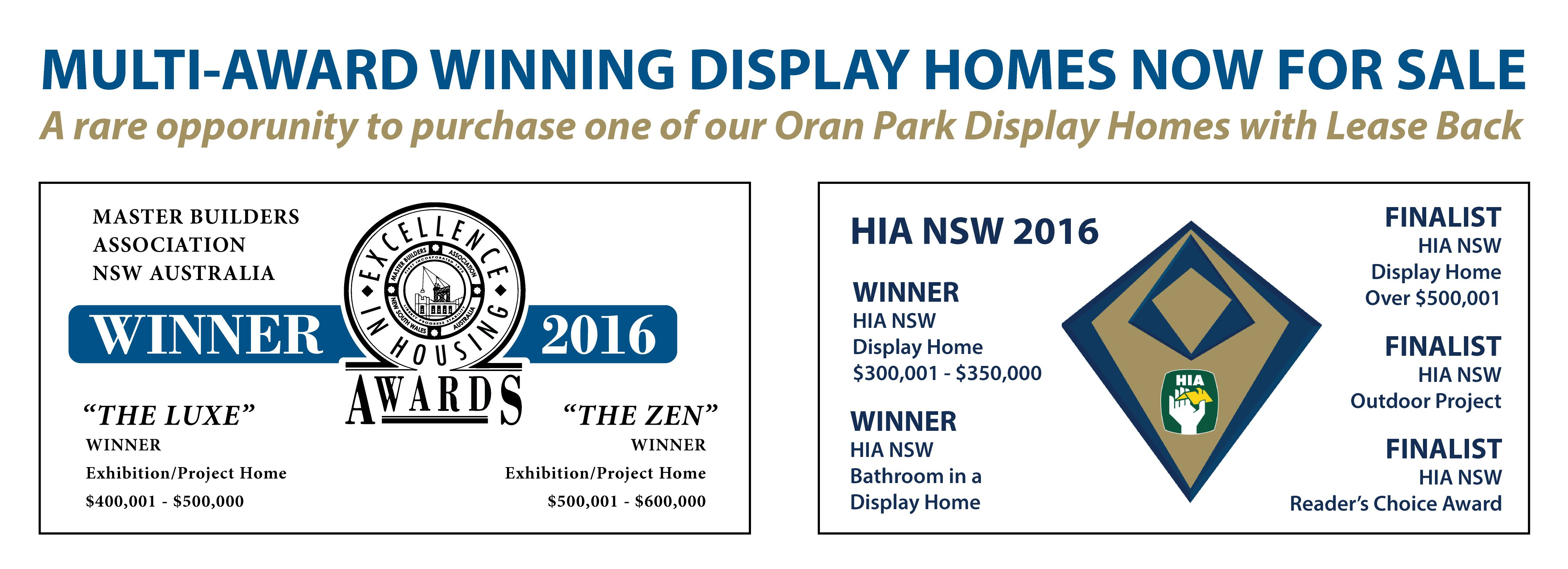 Oran Park Display Homes FOR SALE Banner foe Blast