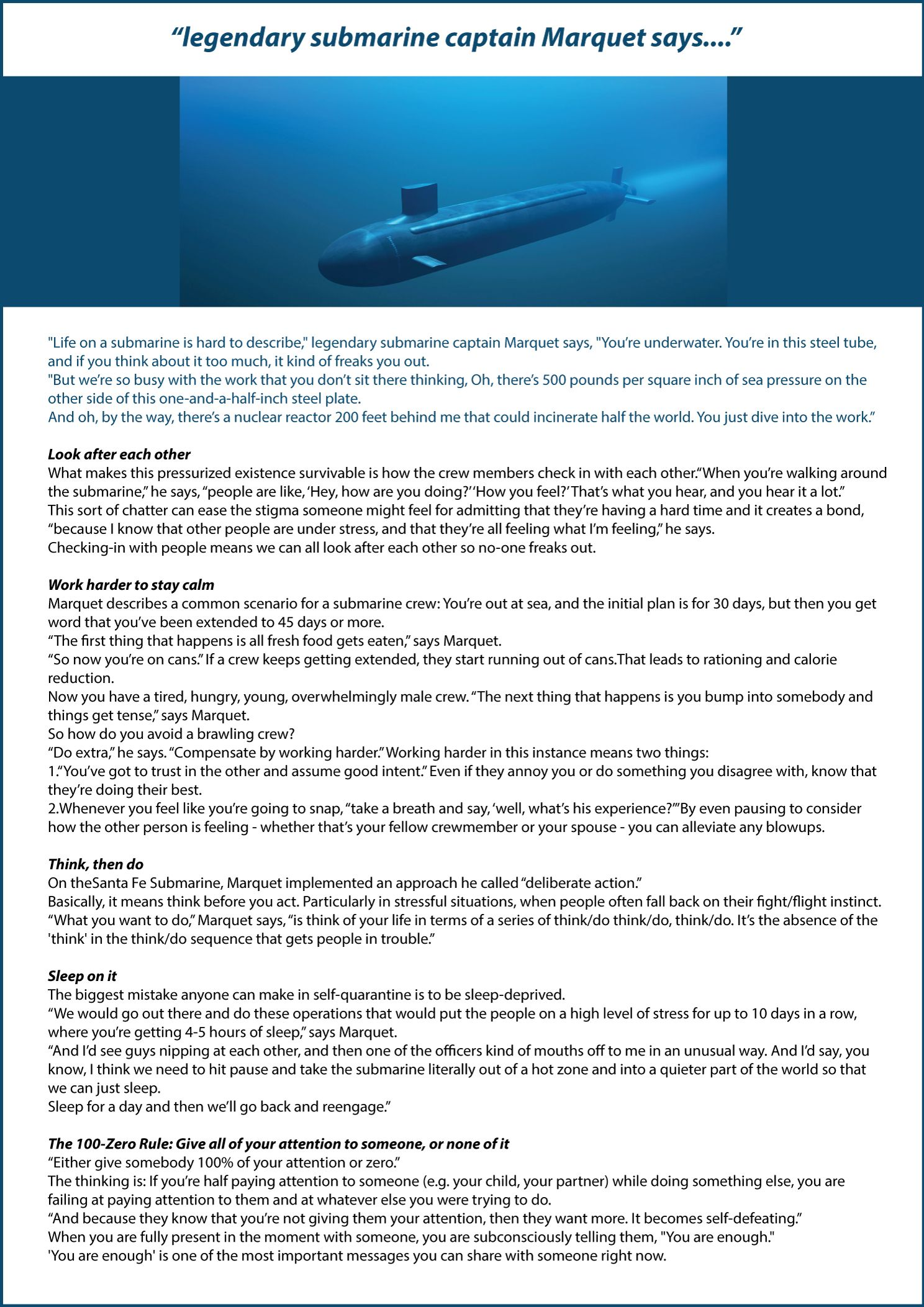 Submarine Inspirational Story 9.4.20